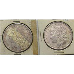 2 - UNC TONED MORGAN DOLLARS: 1881 & 1889