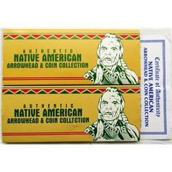 2 - NATIVE AMERICAN ARROWHEAD & COIN