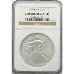 2008 AMERICAN SILVER EAGLE NGC