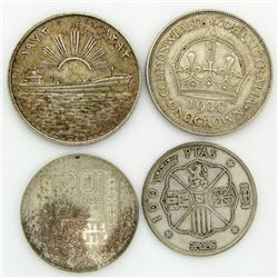 4 - LARGE SILVER FOREIGN COINS