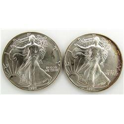 2 - 1991 AMERICAN SILVER EAGLES