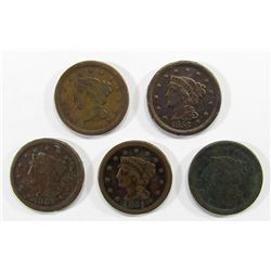 5-LARGE CENTS:  1851, '46, '47, '48, & '50