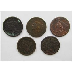 5- LARGE CENTS- 1837, 1838, 1848, 1849, 1851
