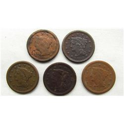 5- LARGE CENTS- 1848, 1851, 1851, 1854, 1854