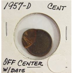 Off Center 1957-D Lincoln Cent Error Coin