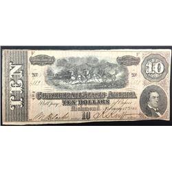 1864 $ 10 CIVIL WAR CONFEDERATE