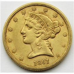 1861 $5 GOLD LIBERTY EAGLE