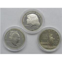 3-SILVER COMMEM DOLLARS; 1990