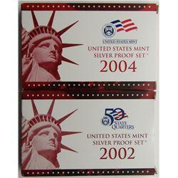 2002 & 2004 U.S. MINT SILVER PROOF SETS