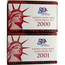 2000 & 2001 U.S. MINT SILVER PROOF SETS
