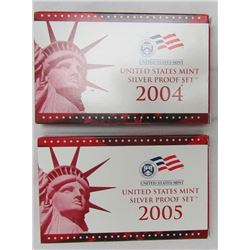 2004 & 2005 UNITED STATES MINT SILVER PROOF SETS