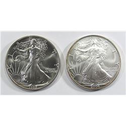 1989 & 2004 AMERICAN SILVER EAGLES