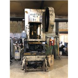 MINSTER NO.9 MODEL 9-9536 6 SLIDE STROKE 110 TON STRAIGHT SIDE HYDRAULIC PRESS WITH AIR CLUTCH,