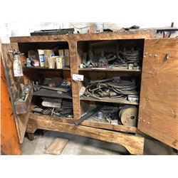 LARGE WOOD TOOL CHEST WITH CONTENTS INC. TOOLS, PARTS, BEARINGS, CHAINS, BITS AND MORE