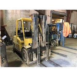 HYSTER 100 10,000LBS 3 STAGE MAST LPG FORKLIFT WITH HARD TIRES AND SIDE SHIFT