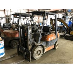 TOYOTA SHORT MAST 5000 LB PROPANE FORKLIFT WITH LONG FORKS, SIDE SHIFT, DOES NOT RUN, PROPANE