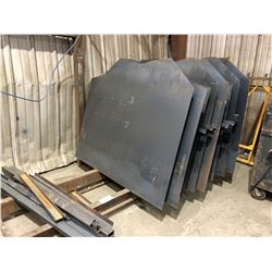 ASSORTED CUT SHEET METAL ON RACK, COMES WITH RACK