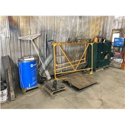 SCRAP METAL CONTENTS ALONG WALL INC. PARTS BIN, FRAMES, AND MORE
