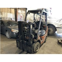 TOYOTA SHORT MAST 5000 LB PROPANE FORKLIFT WITH LONG FORKS, SIDE SHIFT
