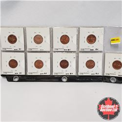 Canada One Cent - Strip of 9: 1958; 1959; 1960; 1961; 1962; 1963; 1964; 1966; 1967