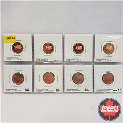 Canada One Cent - Strip of 8: 1981; 1983 (Near Beads); 1987; 1988; 1997; 2000W; 2001; 2003