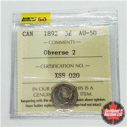 Canada Five Cent 1892 - Obverse 2 (ICCS Cert AU-50)
