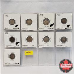 Canada Five Cent - Sheet of 9: 1911; 1912; 1913; 1914; 1916; 1917; 1918; 1919; 1920
