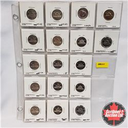 Canada Five Cent - Sheet of 17: 1958; 1959; 1960; 1961; 1962; 1963; 1964; 1965 (Small Beads); 1966;