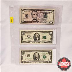 US Bills - Sheet of 3: 2006 $5; 2003 $2; 2003 $2