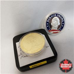 Barack Obama Medallions (2): 44th U.S. President 56th Presidential Inauguration Golden Medallion; Ye