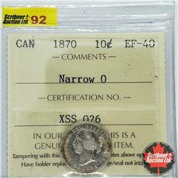 Canada Ten Cent 1870 - Narrow 0 (ICCS Cert: EF-40)