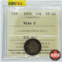 Canada Ten Cent 1870 - Wide 0 (ICCS Cert: VF-20)