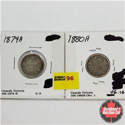 Canada Ten Cent - Strip of 2: 1874H; 1880H