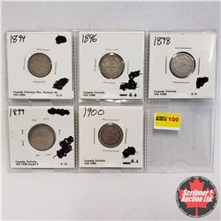 Canada Ten Cent - Strip of 5: 1894, 1896, 1898, 1899 Sm. 9, 1900