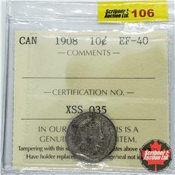 Canada Ten Cent 1908 (ICCS Cert EF-40)