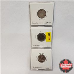 Canada Ten Cent 1968 - Strip of 3: Silver, US Mint, RC Mint