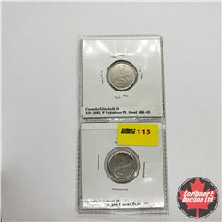 Canada Ten Cent - Strip of 2: 2001P Volunteer ; 2001P Volunteer Die Cracks