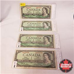 Canada $1 Bills 1954 - Group of 4: Lawson/Bouey CI2810393 & Beattie/Rasminsky GO8956869 & Beattie/Ra