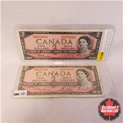 Canada $2 Bills 1954 - Group of 2: Lawson/Bouey MG0575107 ; Beattie/Rasminsky SU0570050