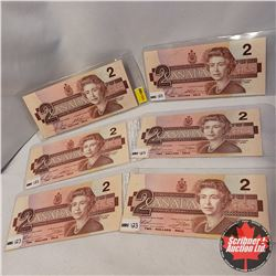 Canada $2 Bills 1986 - Group of 6: Bonin/Thiessen > EGR2882363/EGR2845265/CBI1746699 & Thiessen/Crow