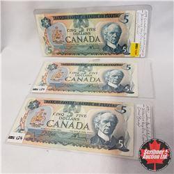 Canada $5 Bills 1979 - Group of 3: Lawson/Bouey 30139296281 Crow/Bouey > 30489654225 / 30572424326