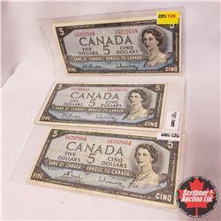 Canada $5 Bills - Group of 3: Beattie/Rasminsky TS5222518; Beattie/Rasminsky PS5766533; Bouey/Rasmin