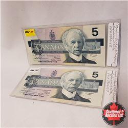 Canada $5 Bills 1986 - 2 Sequential REPLACEMENT : FNX3906157/58