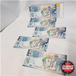 Canada $5 Bills 2006 - 5 Sequential : HPE0904021/22/23/24/25
