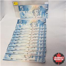 Canada $5 Bills 2002 - 11 Sequential : ANV9125388-98