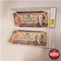 Canada $10 Bills 1971 - Set of 2: Lawson/Bouey VL8329778; Lawson/Bouey TA6316515