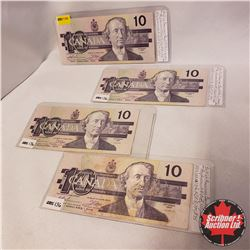 Canada $10 Bills - Group of 4 REPLACEMENT: ADX2209200; ADX4426347; ADX4401035; ADX3550998