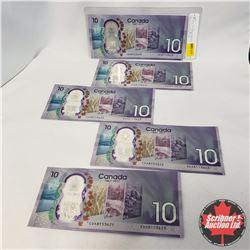 Canada $10 Bills 2017 - 5 Sequential : CDA8153671-75