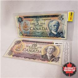 Canada Bills - Group of 2: $10 Bill 1971 Lawson/Bouey EEG4065476 ; $5 Bill 1972 Lawson/Bouey SY85844