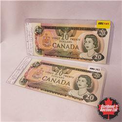 Canada $20 Bills 1979 - Group of 2: Crow/Bouey 56018775757 ; Thiessen/Crow 56857075013